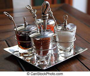 Set of spices on a table