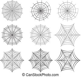 Set of spider web in silhouette style