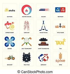 Set of spike, democrat, bike shop, happy thanksgiving, drones, hockey sticks, confectionery, railway, sun moon icons