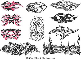 Set of spiny ornaments and tattoos