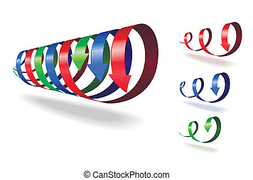 Set of spiral arrows. - Set of red, blue, green spiral...
