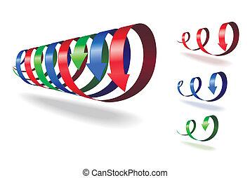 Set of spiral arrows. - Set of red, blue, green spiral ...