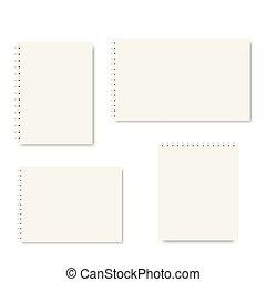 Set of spiral notebook templates. Vector.