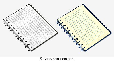 Set of spiral notebook. Vector illustration, isolated on white