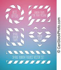 Set of spiral ribbon frames circle, square and the heart symbol
