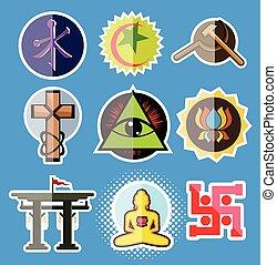 Set of Spiritual Religious Symbols Vector Illustration