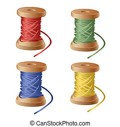 Set of spool of cartoon colorful thread. Equipment sewing workshop isolated on white background. Vector close-up illustration.