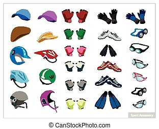 Set of Sport Accessory on White Background