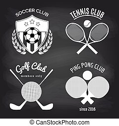 Set of sport banners on chalkboard