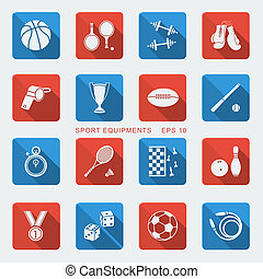 Set of Sport equipments of flat design.