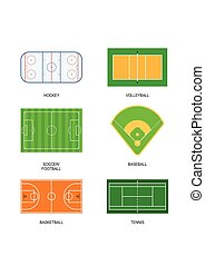 Set of sport fields for games: hockey, volleyball, soccer, football, baseball, basketball and tennis.