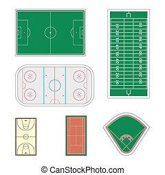 Set of sport fields, vector