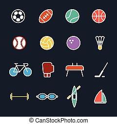 Set of sport icons flat design vector illustration