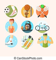 Set of Sport Icons in Flat Design Vector Illustration