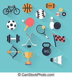 Set of sport icons in flat design with long shadows
