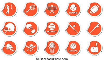 Set of sport icons on blue labels