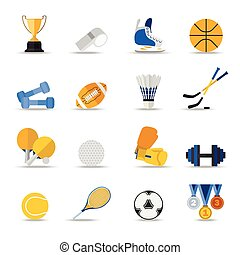 Set of sport isolated icons. Flat style design.