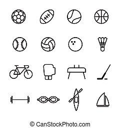 Set of sport line icons vector illustration