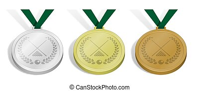 set of sport medals with emblem of billiard cues and pool ball set with laurel wreath for competition. Gold, silver and bronze award with green ribbon. 3d vector