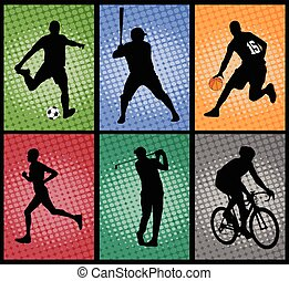 set of sport silhouettes on the colorful background