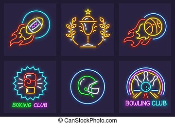 Set of sporting neon icons balls