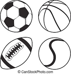 Set of Sports balls Soccer Basketball American Football tennis