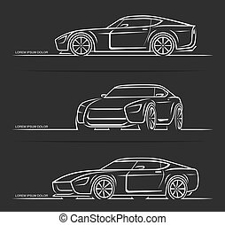 Set of sports car silhouettes outlines contours isolated on black background. Vector illustration
