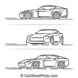 Set of sports car silhouettes outlines contours isolated on white background. Vector illustration