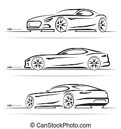 Set of sports car silhouettes, outlines, contours. Side and perspective front and rear view. Abstract hand-drawn modern sports coupe isolated on white background