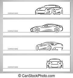 Set of sports car vector silhouettes, outlines, contours