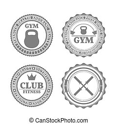 Set of sports emblems in retro style,  illustration