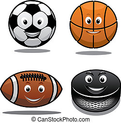 Set of sports equipment icons with a happy smiling soccer...