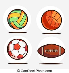 Set Of Sports Equipment. Volleyball, Basketball, Football, And American Football Vector
