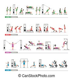 set of sports exercise