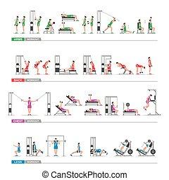 set of sports exercise
