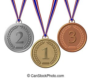 set of sports medals isolated