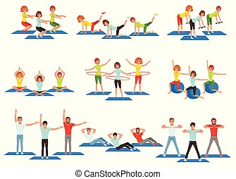 Set of sports people in gym. Group fitness training. Active and healthy lifestyle. Men and women doing exercises. Young girls and guys in sportswear. Flat vector design