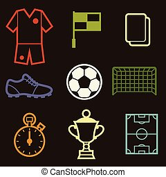 Set of sports soccer football symbols.