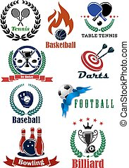 Set of sports tournament emblems and badges including tennis...