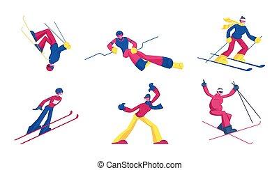 Set of Sportsmen Freestyle Skiing Jump. Winter Sport Activity Combine Skiing and Acrobatics Stunts. Aerialist Skiers Making Somersault Extreme Tricks over Springboard Cartoon Flat Vector Illustration