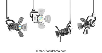 Set of spotlights on white