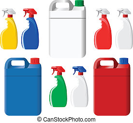 Set of spray bottles and canisters - Set of colorful...
