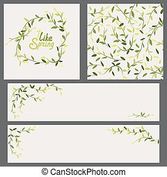 set of spring banners and pattern