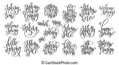 set of spring coming hand written lettering inscription