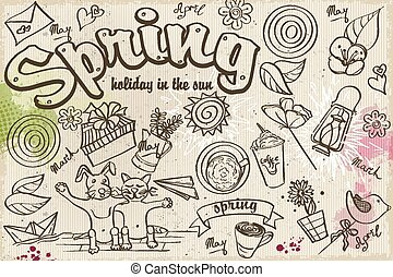 Set of spring doodles on the background with watercolor stains