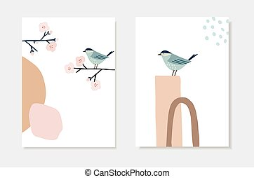 Set of spring, Easter artistic greeting cards, invitations. Bird sitting on blossiominch cherry tree branch. Abstract geometric shapes. Modern minimalist vector drawing, wall art. Poster or web banner