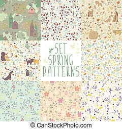set of spring floral patterns