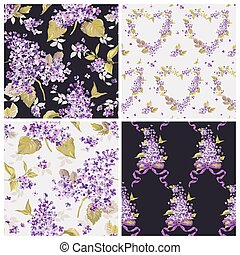 Set of Spring Flowers Backgrounds - Seamless Floral Shabby ...