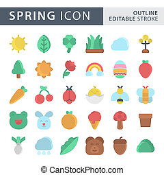 Set of Spring icon in Flat Color style isolated on white background. for your web site design, logo, app, UI. Vector graphics illustration and editable stroke. EPS 10.