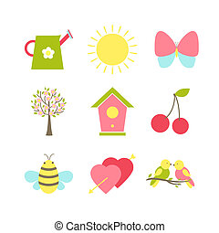 Set of spring icons depicting a watering can sunshine ...
